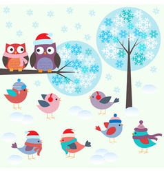 Birds and owls in winter forest vector image