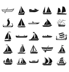 boat icon set simple style vector image
