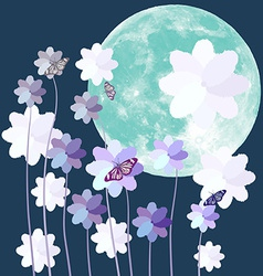 Butterfly and flower with big full moon on blue vector