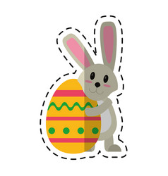 cartoon easter rabbit hugging egg vector image