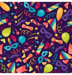 Celebration seamless pattern with carnival icons vector