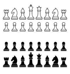 Chess Pieces Silhouette - Black and White Set vector image
