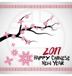 Chinese new year 2017 card branches tree flower vector