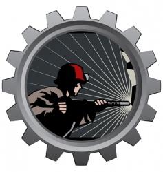 coal miner badge vector image vector image