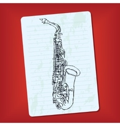 doodle saxophone vector image vector image