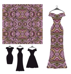 Dress silhouette and tribal seamless pattern vector