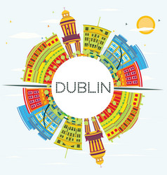 Dublin skyline with color buildings blue sky and vector