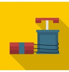 Dynamite and detonator icon flat style vector image