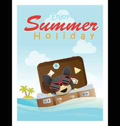 Enjoy tropical summer holiday with little dog 3 vector image vector image