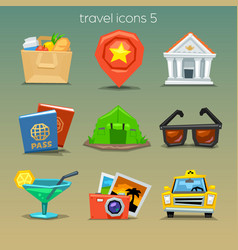 Funny travel icons-set 5 vector