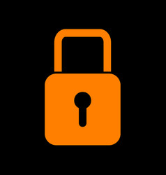 lock sign orange icon on black vector image