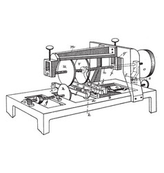 Machine for sawing grooving vintage vector