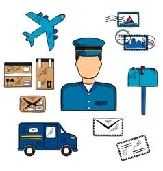 Postal icons around a Postman vector image