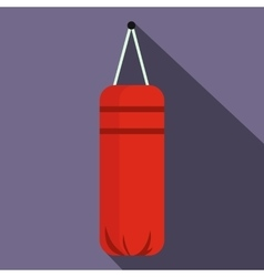 Red punching bag for boxing icon flat style vector