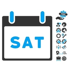 Saturday calendar page icon with bonus vector