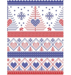 Xmas nordic tall pattern with rabbits blue and red vector