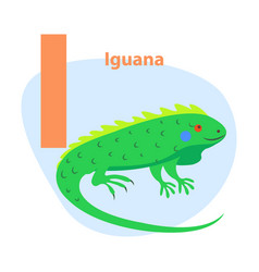 zoo abc letter with cute iguana cartoon vector image