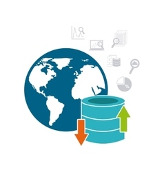 Big data management icons vector