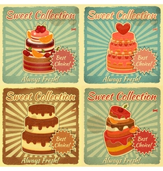 Set of retro cards with cake vector