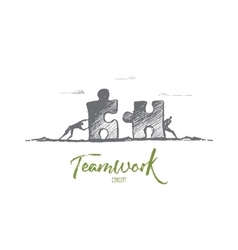 Hand drawn teamwork concept with lettering vector