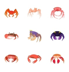 Crab icons set cartoon style vector