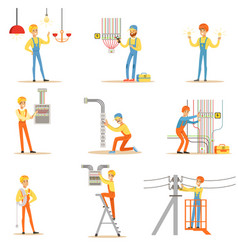Electrician in uniform and hard hat working with vector
