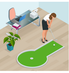 businesswoman playing mini golf in his office vector image