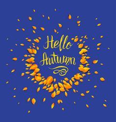 Hello autumn blue background vector