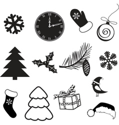 Set of christmas subjects and decorations vector image