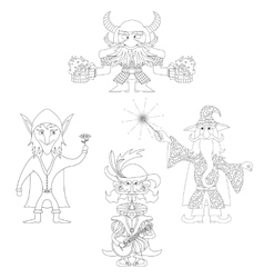 Fantasy heroes outline set vector