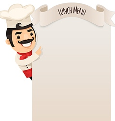 Male chef looking at blank menu vector