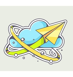 Yellow paper plane flying around blue clo vector