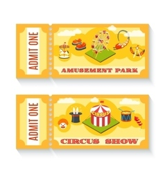 Two vintage amusement park tickets set vector