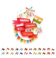 Happy independence day banner for many country vector