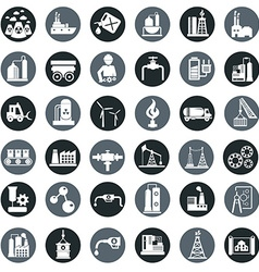 industry factory icons set vector image