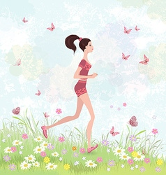 Sporty brunette jogging in the park vector