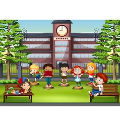 Children at the park in front of school vector