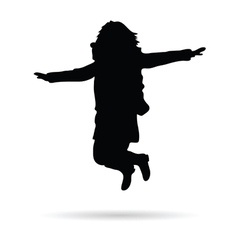 Girl little jump silhouette vector
