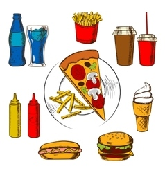 Fast food snacks dessert and beverages vector