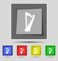 Harp icon sign on original five colored buttons vector