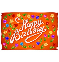 Happy birthday card flower tulip vintage orange vector