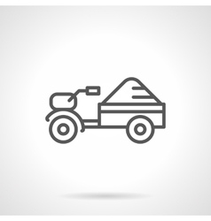 Seed tractor black line icon vector