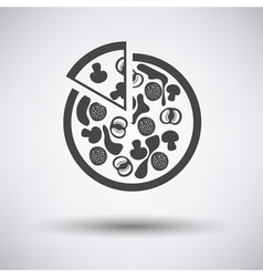 Pizza on plate icon vector