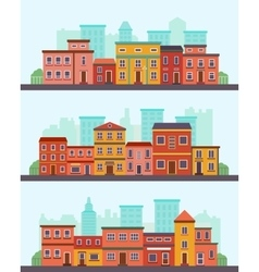 Central street flat design urban landscape with vector