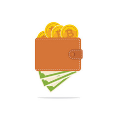 bitcoin wallet with dollars in flat style vector image