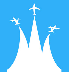 blue and white airplane with copy space background vector image vector image