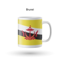 Brunei flag souvenir mug on white background vector