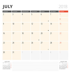 Calendar planner for may 2018 design template vector