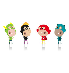 Cartoon super heroes kids crew vector