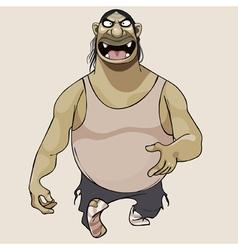 Cartoon terrible goblin steps vector